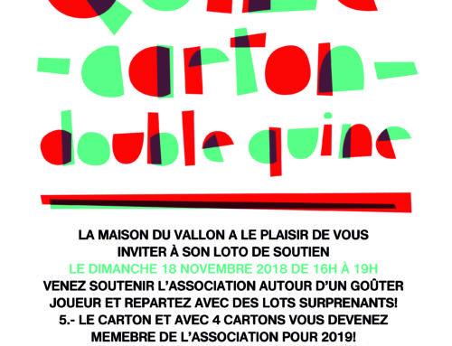 LOTO de soutien de la Maison du Vallon, le dimanche 18 novembre!