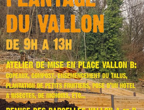 Atelier mise en place du plantage Vallon B, samedi 30 mars de 9h à 13h