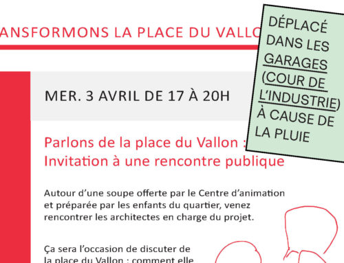 ATTENTION, RENCONTRE PLACE DU VALLON DEPLACEE AUX GARAGES!!