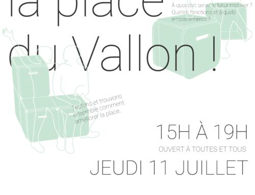 Meublons la place du Vallon! le jeudi 11 juillet de 15h à 19h!