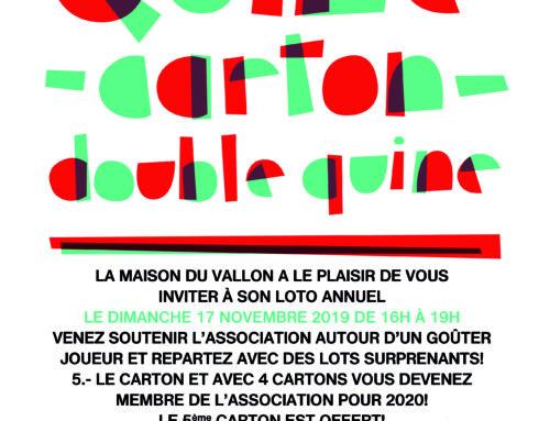 Loto de soutien à la Maison du Vallon! le dimanche 17 novembre